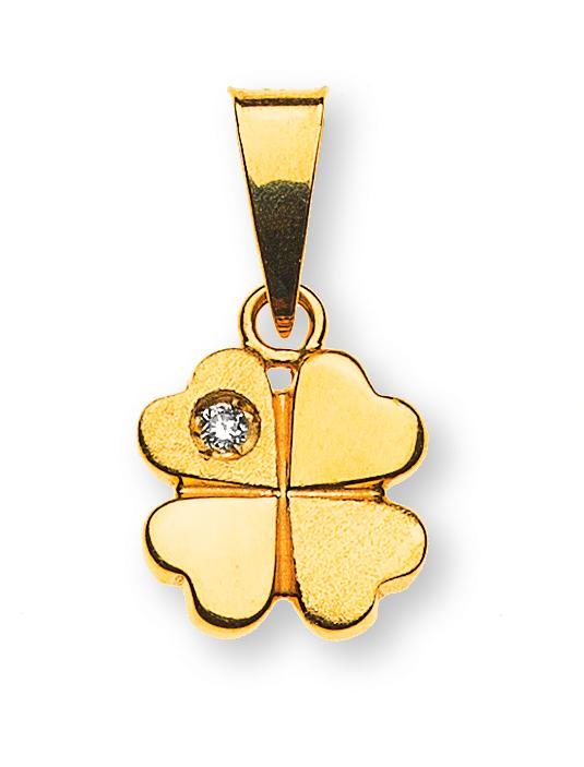 diamantanhaenger-kleeblatt-gelbgold-750