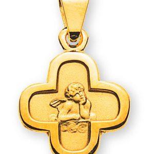 Engel Anhänger Gelbgold 750 Kreuz