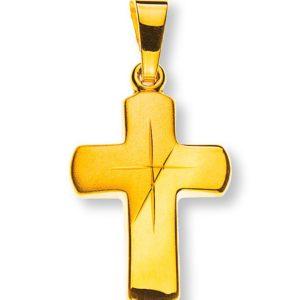 Kreuz Gelbgold 750 eingeschliffen und gesandelt
